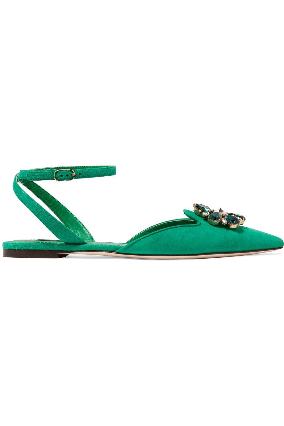Bellucci crystal-embellished suede point-toe flats, Dolce & Gabbana