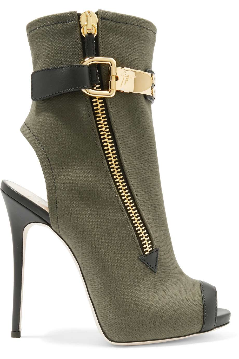 Roxie leather trimmed canvas ankle boots, Giuseppe Zanotti
