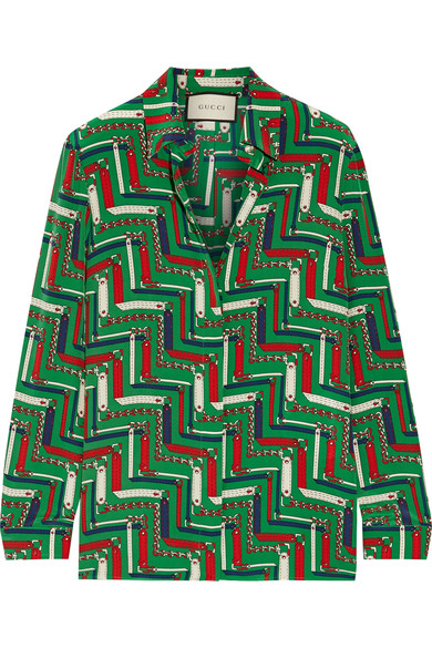 Printed silk crepe de chine shirt, Gucci