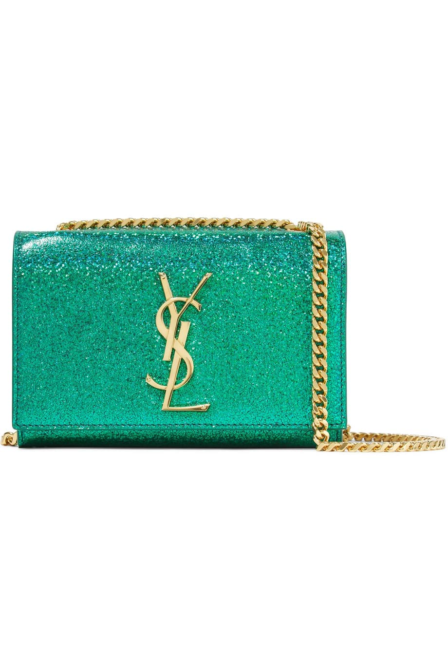 Monogramme Kate small glittered leather shoulder bag, Saint Laurent