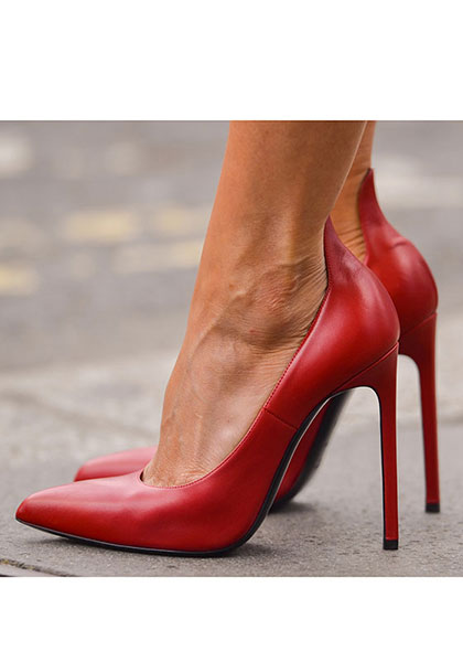 Simply chic, a pair of plain red pumps should do it.