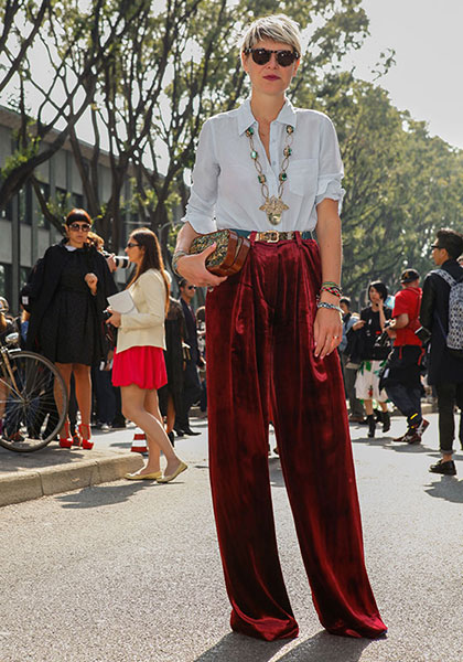 Work an effortless look with velvet palazzo trousers instead of going head-to-toe in red.