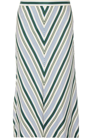 Villa striped satin-twill midi skirt, Tory Burch