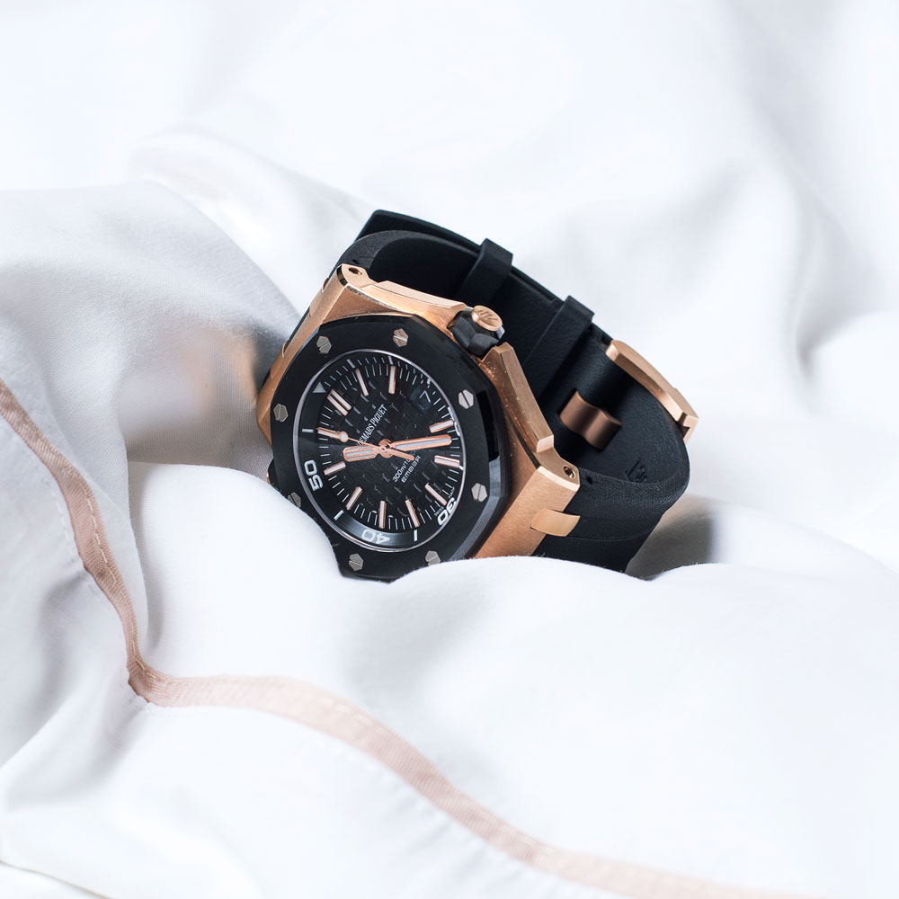 "Casual: EMBER Audemars Piguet, Royal Oak Diver ""The rose gold makes it more relaxed and its large face gives it a playful vibe while still remaining masculine."""