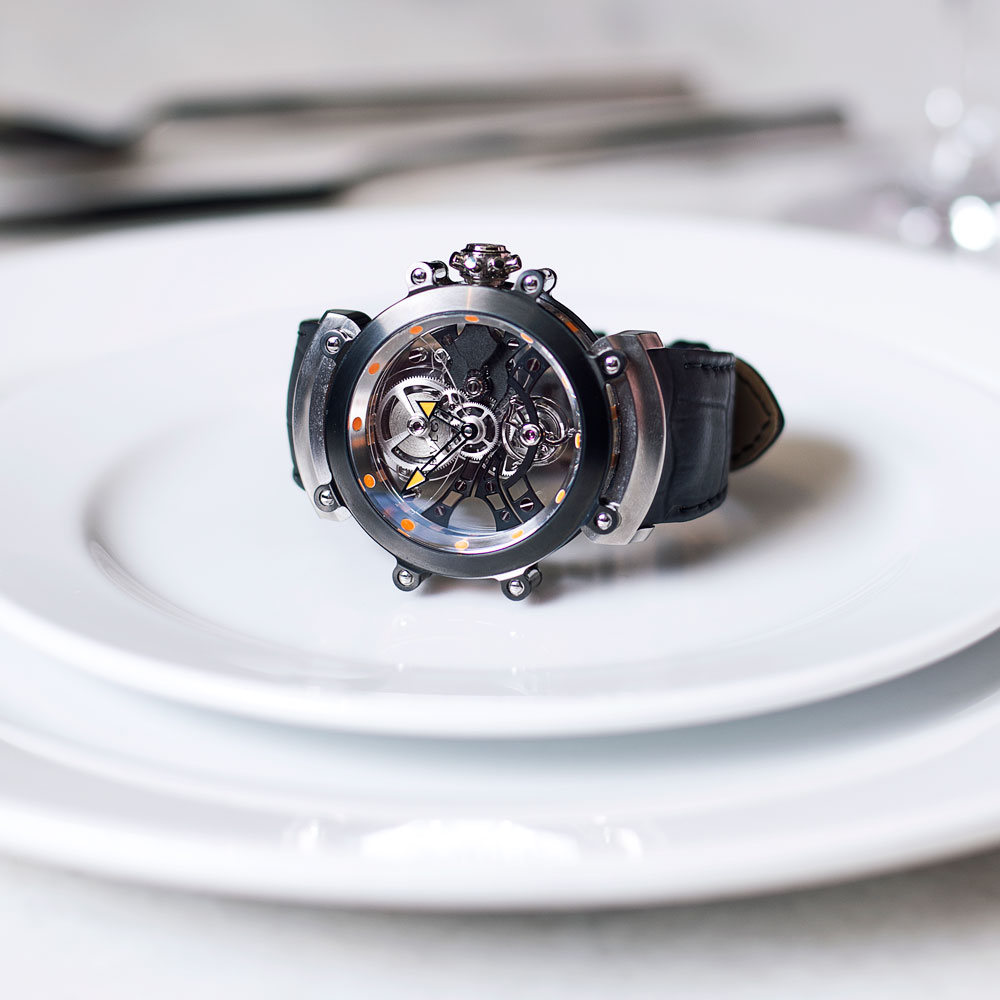 "Romantic: Bulgari DLC Treated Titanium Tourbillon ""This piece is 1 in only 30 ever made - it sits on sapphire base plates which I feel is very romantic because it renders it see-through like true affection."""