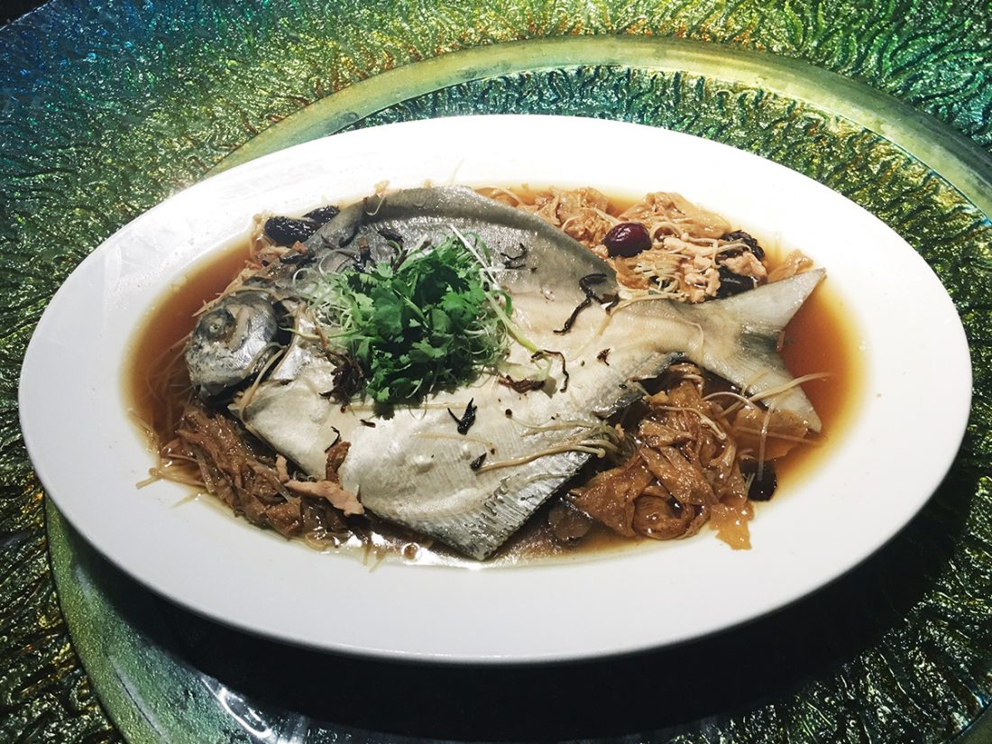 Steamed Pomfret with Bean Curd Skin and Mandarin Skin