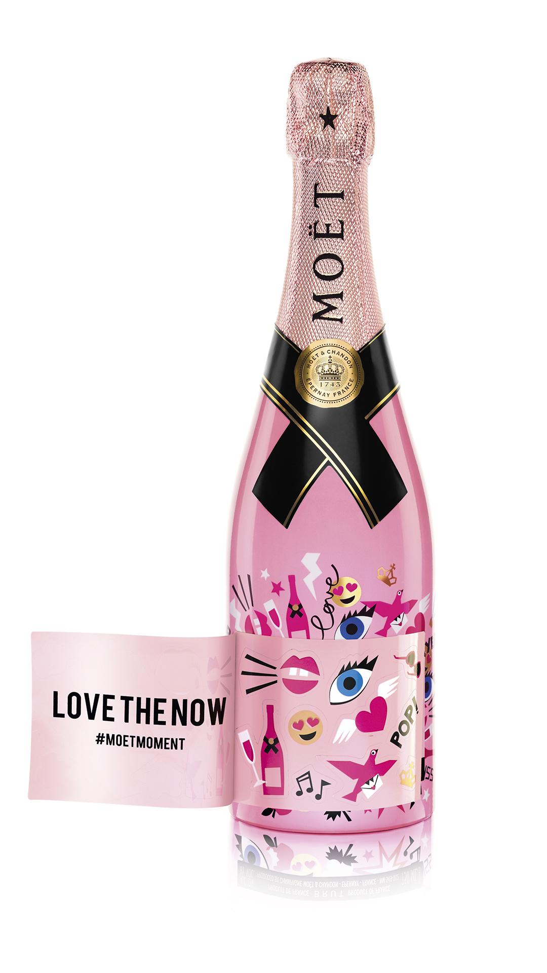 The Moët Rosé Impérial Emoëticons Limited Edition bottle, Moet & Chandon