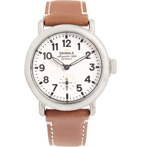 The Runwell Stainless Steel And Leather Watch, Shinola