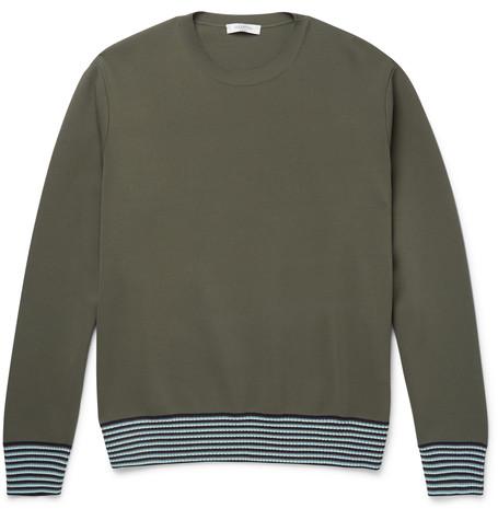 Stripe Trimmed Stretch-Knit Sweatshirt, Valentino