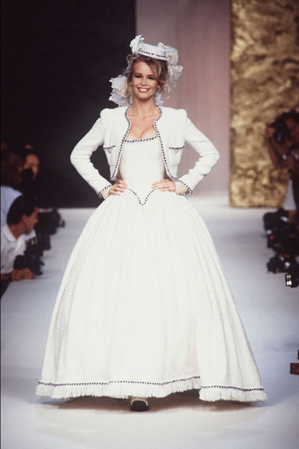 Fashion flashback chanel couture wedding dresses and brides claudia schiffer wears a matching jacket with her shepherdess like gown at chanels fall 1991 show junglespirit Choice Image