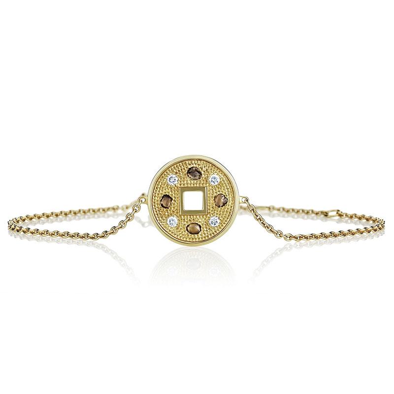 De Beers Talisman yellow gold lucky coin bracelet