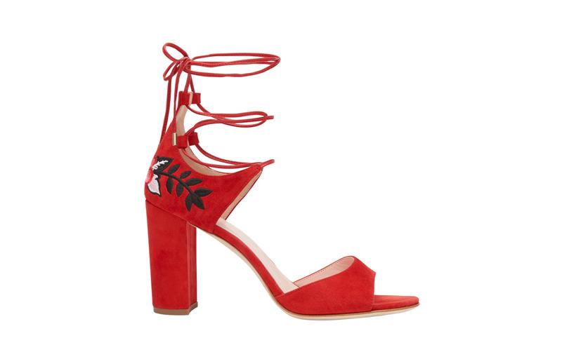 Embroidered TieUp Heel Red