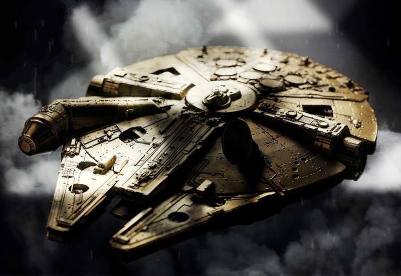 The limited edition gold plated Millennium Falcon