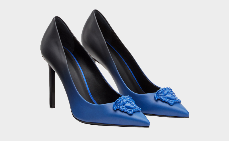 Palazzo Graduated Leather Pumps, Versace