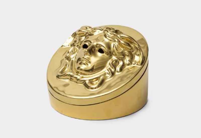 Golden Medusa head incense burner
