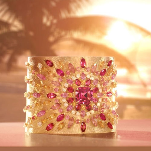 Pink sapphire cuff-watch
