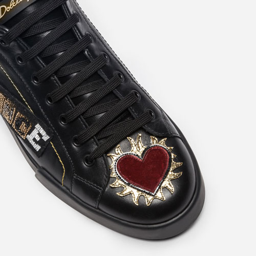 Dolce & Gabbana Leather Sneakers with Appliqués