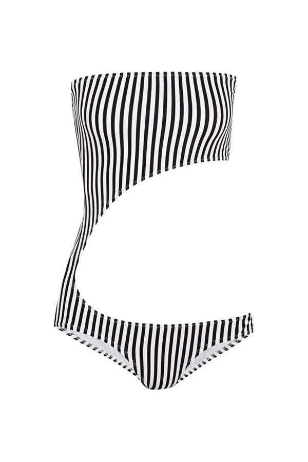 Striped Cutout Bandeau Swimsuit, Norma Kamali