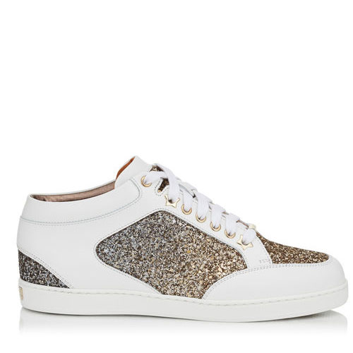 Jimmy Choo Miami Antique Gold and Anthracite Mix Coarse Glitter Dégradé Sneakers