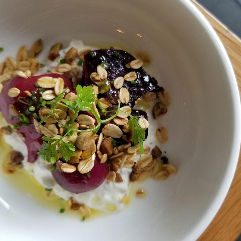 Antipasto – Salt baked baby beetroots, stracciatella, pistachio granola