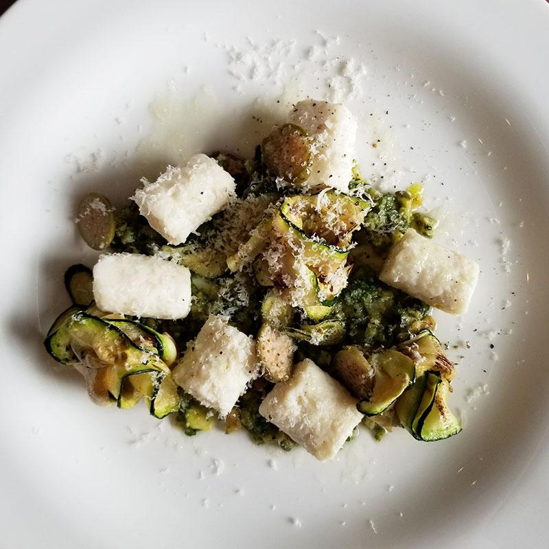 Antipasto – Chilled ricotta gnocchi with zucchini pesto