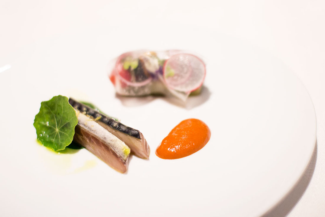 Lightly cured mackerel with salsa rubra and eggplant