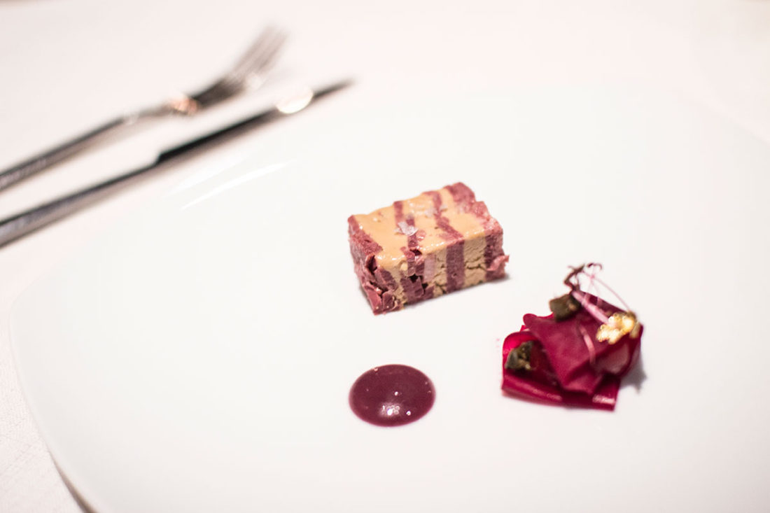 Beef tongue & foie gras terrine with beetroot and cherry