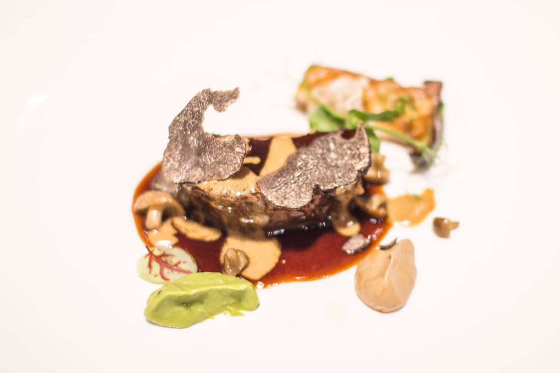 Slow-braised Australian beef cheek with mushrooms and black truffle