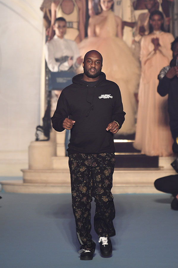 ec7841fd1422 Virgil Abloh taking his final bow at the Off White Fall Winter 2018 show in  Paris.