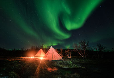Teepee wilderness camping in Lapland