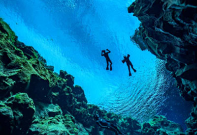 Snorkel between tectonic plates in Iceland