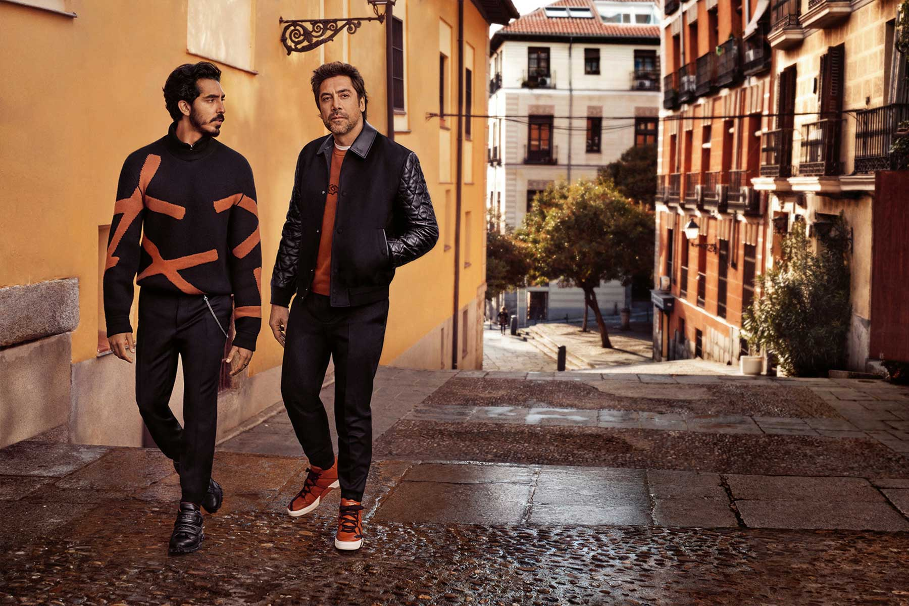 Watch  Javier Bardem and Dev Patel banter in Ermenegildo Zegna s FW18  campaign dcbcae324e2