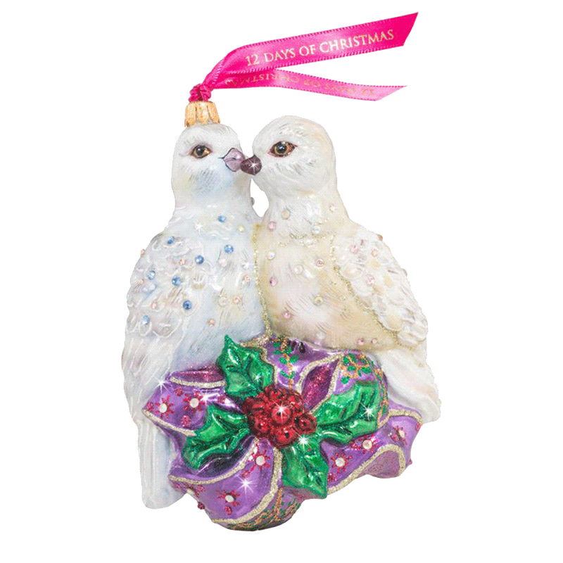 Jay Strongwater Two Turtledoves ornament