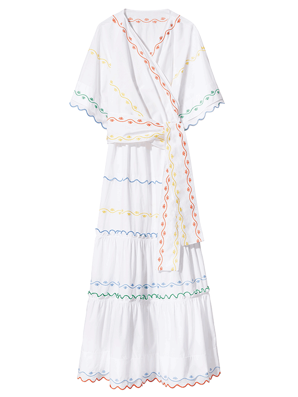 Tory Burch Scallop Embroidered Wrap Dress