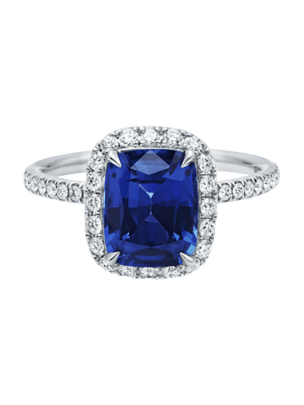 Cushion-cut Sapphire Micropavé Ring by Harry Winston