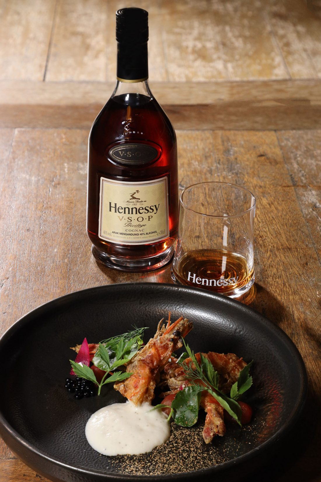 Soft shell prawn with white percik foam, served with Hennessy V.S.O.P