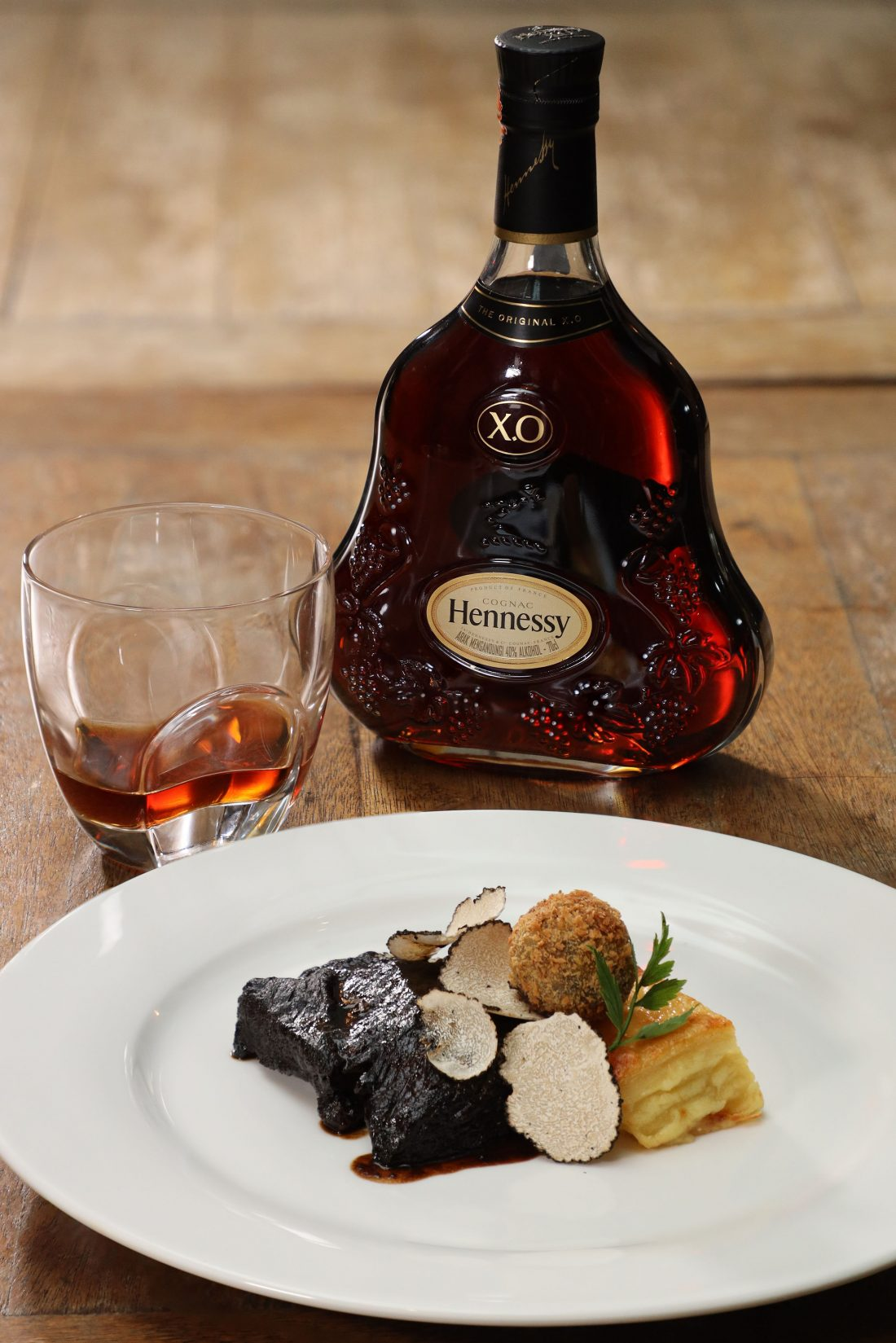 Beef short-ribs, ox-tongue & summer truffles, served with Hennessy X.O
