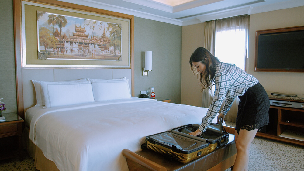 Zahirah Macwilson packing her TUMI luggage at Sule Shangri-La Yangon.