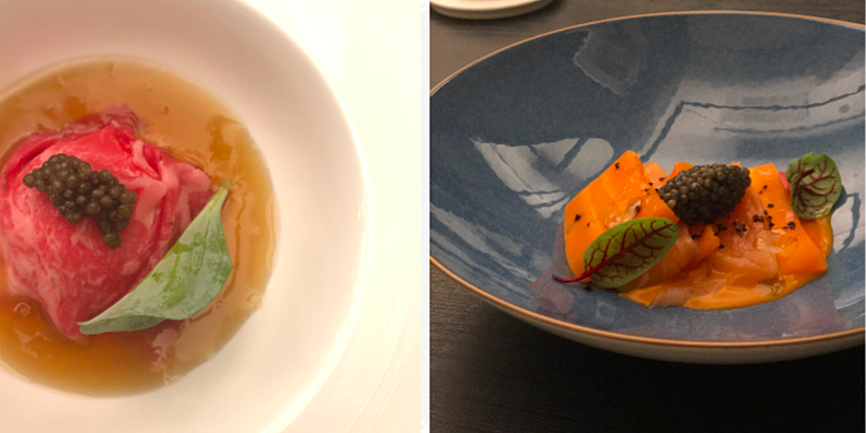 (L) Smoked eel sorbet with wagyu carpaccio; (R) Tasmanian wild salmon and carrot