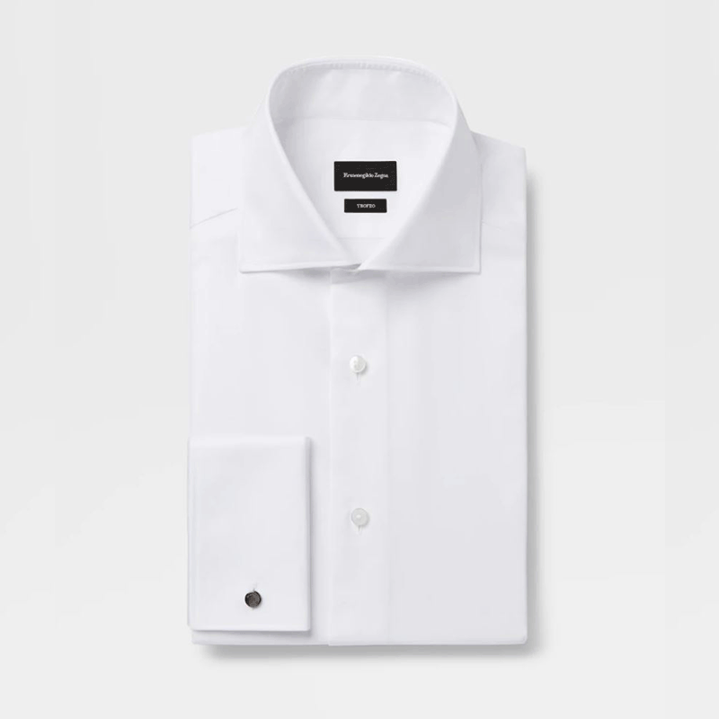 Ermenegildo Zegna White Trofeo Cotton Shirt With French Cuffs