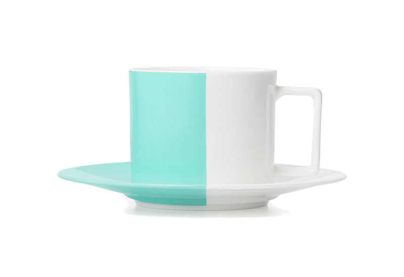 Tiffany Colour Block teacup and saucer in bone china