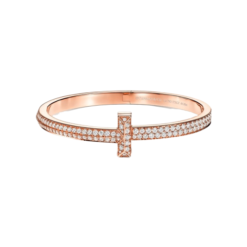 Tiffany T1 wide diamond-hinged bangle in 18K rose gold
