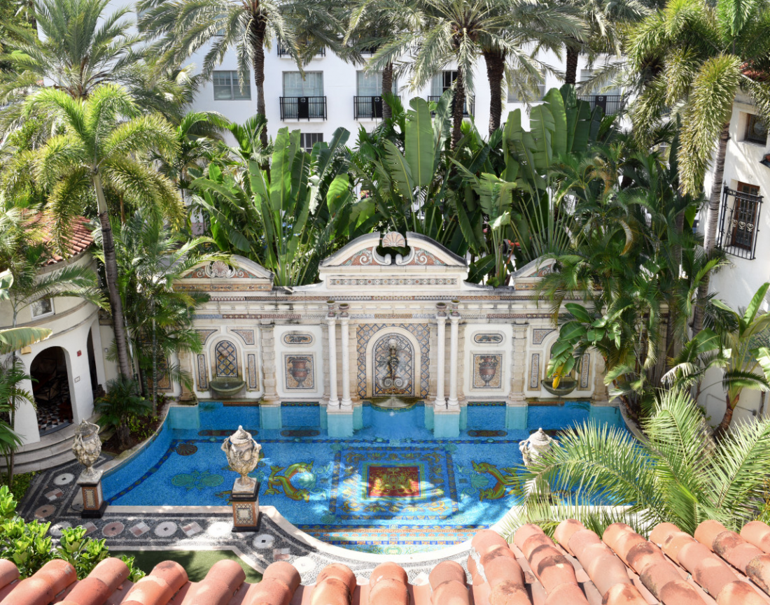 The Mediterranean-style pool