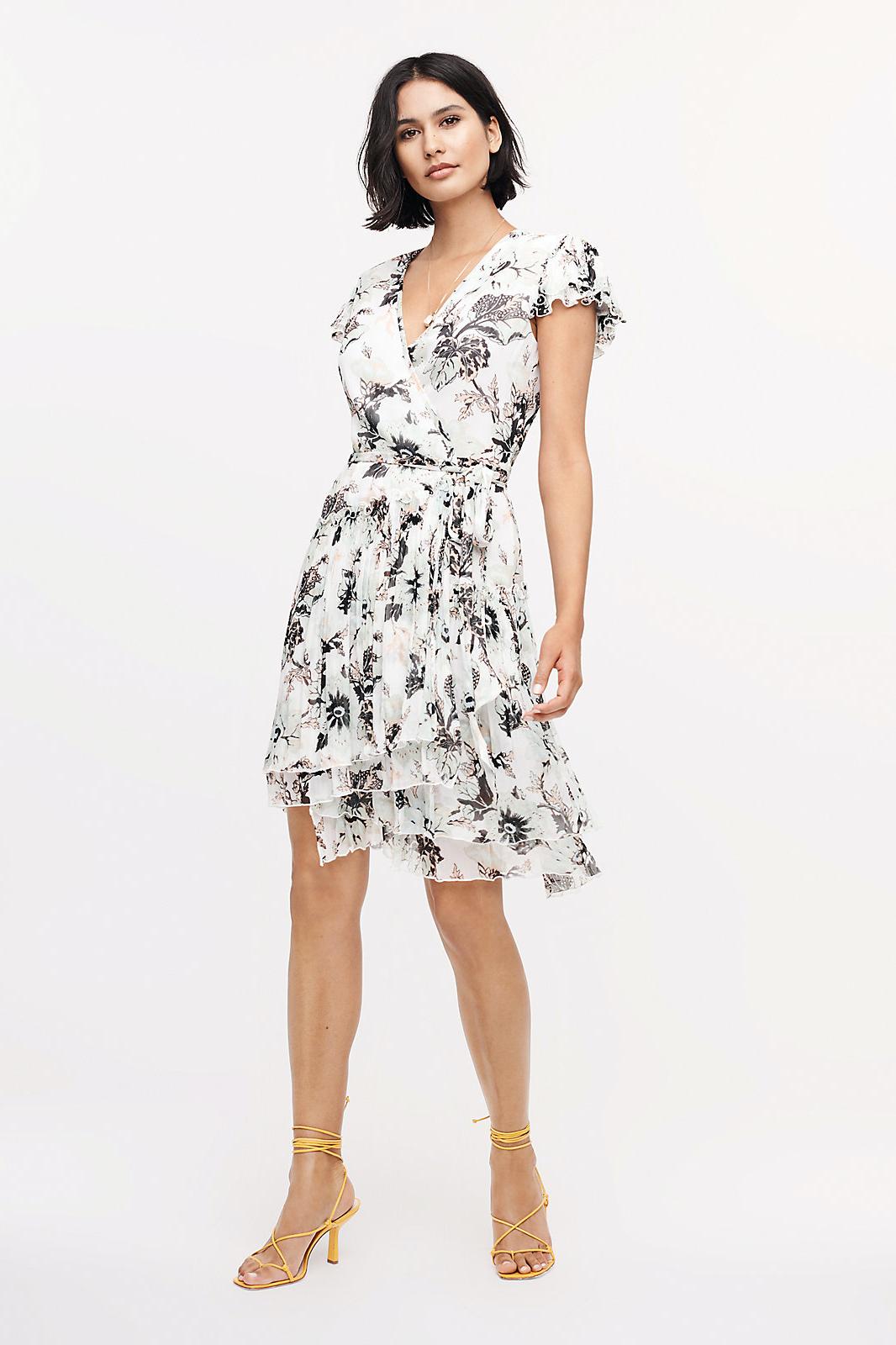 Diane Von Furstenberg Theo Pleated Poly-Shiffon Mini Wrap Dress
