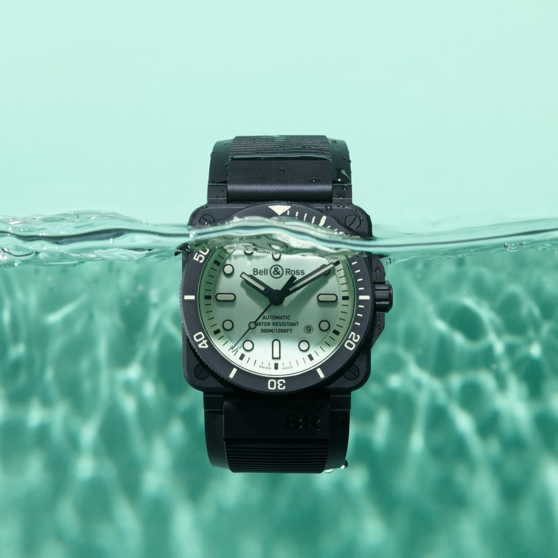 The Bell & Ross BR03-92 DIVER FULL LUM during the day