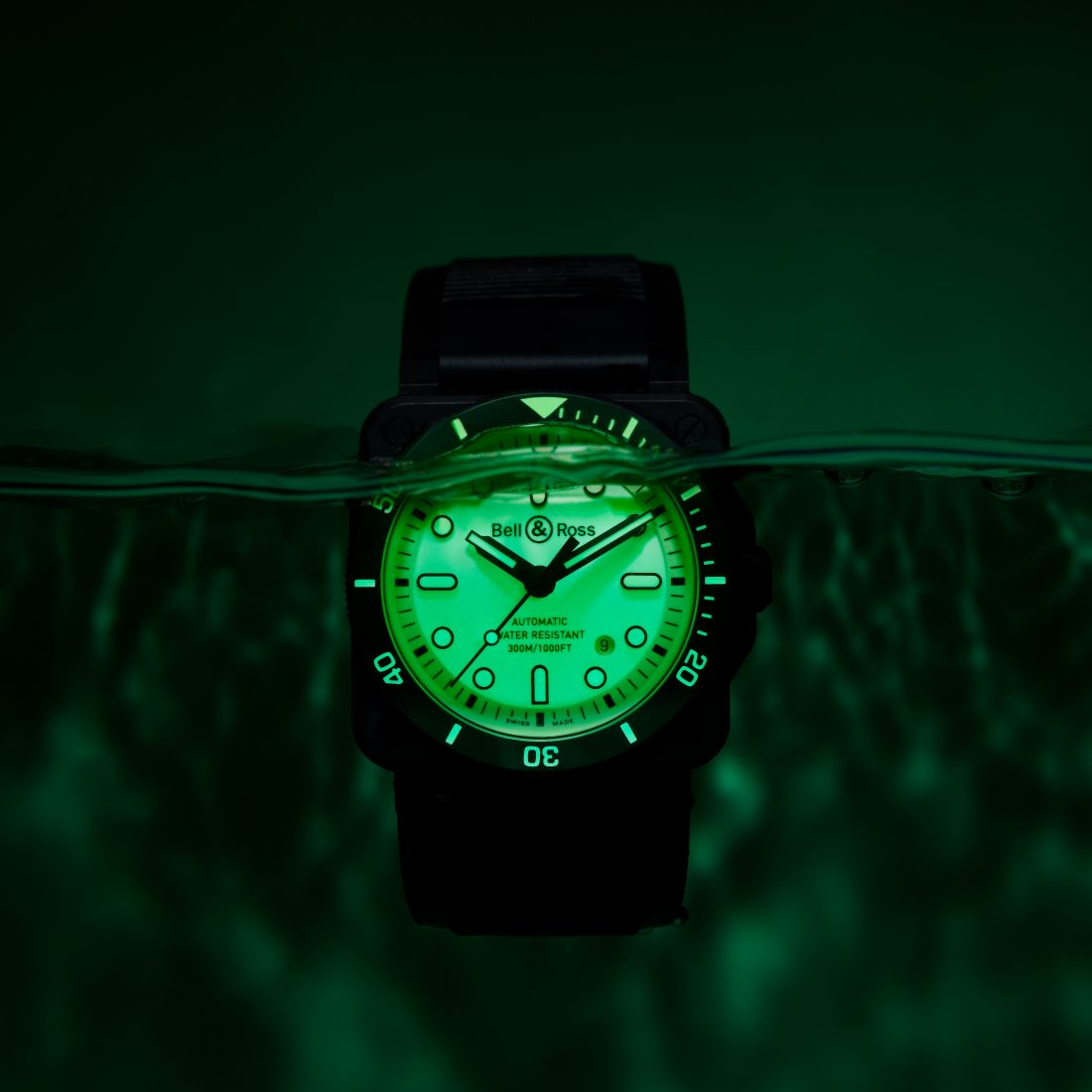 The Bell & Ross BR03-92 DIVER FULL LUM at night