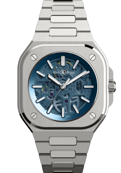 The BR05 Skeleton Blue fitted with a satin-polished steel bracelet