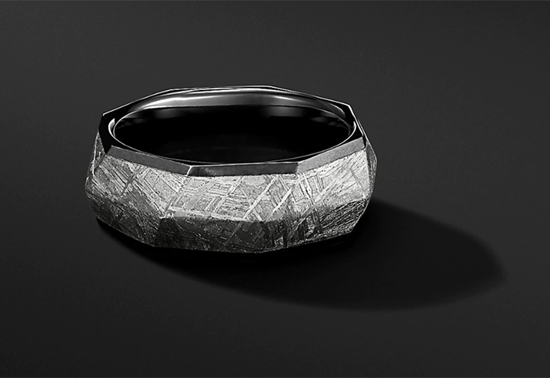 David Yurman Torqued Faceted Band Ring In Black Titanium With Meteorite