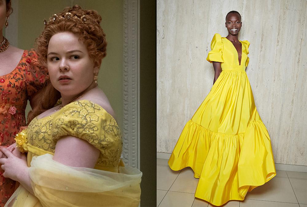 Penelope Featherington's yellow ball gown