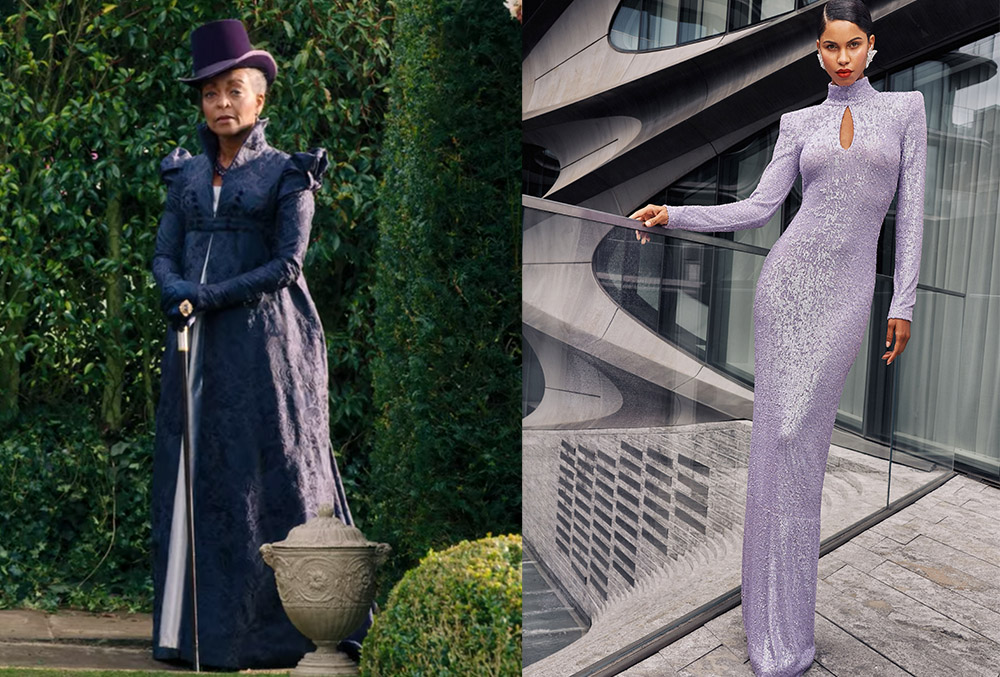 Lady Danbury's purple party dress